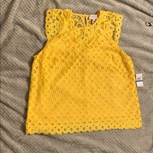 Laundry by Shelli Segal Yellow Lacey Top XL